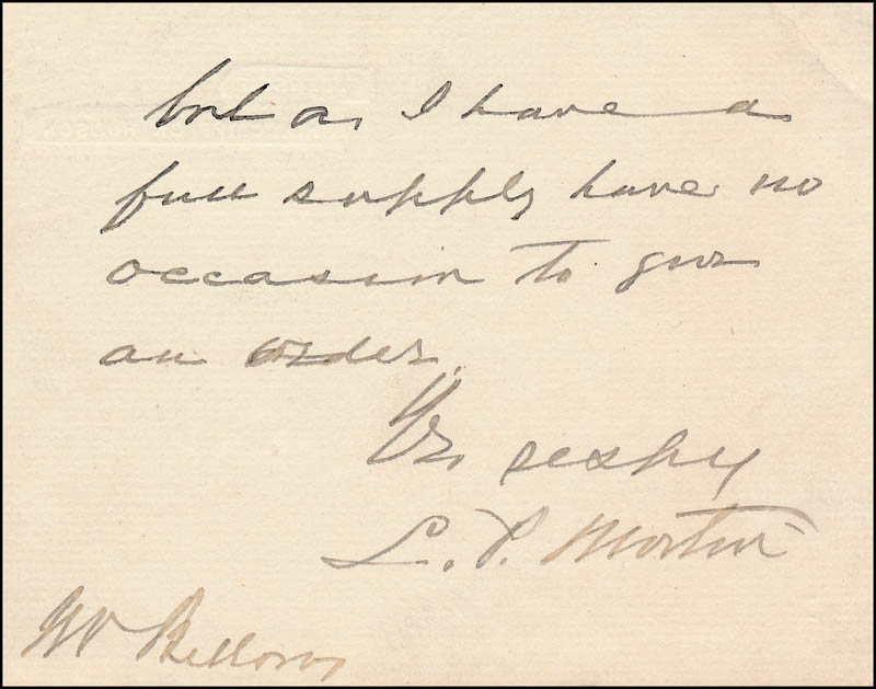 Image 3 for Vice President Levi P. Morton - Autograph Letter Signed 06/18/1892 - HFSID 321484