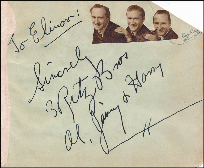 Image 1 for The Ritz Brothers - Autograph Note Signed with co-signers - HFSID 321687