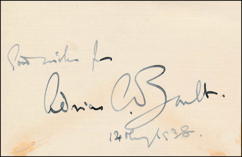 Image 1 for Sir Adrian C. Boult - Autograph Sentiment Signed 12/1938 - HFSID 321816