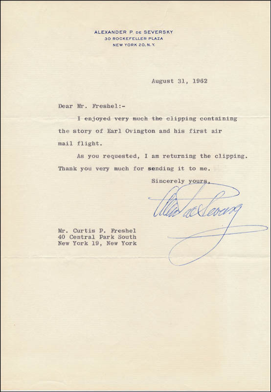 Image 1 for Alexander De Seversky - Typed Letter Signed 08/31/1962 - HFSID 321830