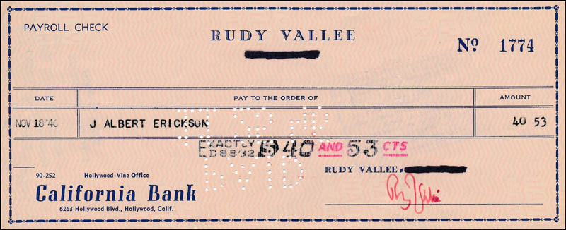 Image 1 for Rudy Vallee - Autographed Signed Check 11/18/1946 - HFSID 321837