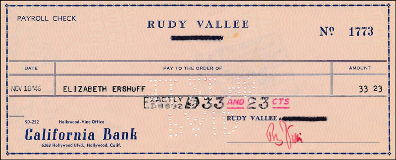 Image 1 for Rudy Vallee - Autographed Signed Check 11/18/1946 - HFSID 321838