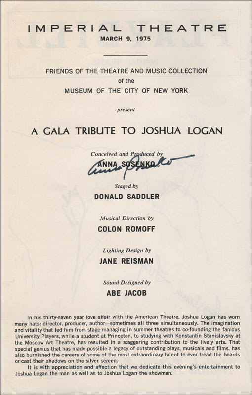 Image 3 for Joshua Logan - Show Bill Signed co-signed by: Anna Sosenko - HFSID 321864