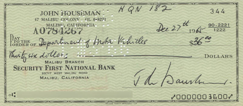 Image 1 for John Houseman - Autographed Signed Check 12/27/1965 - HFSID 321869