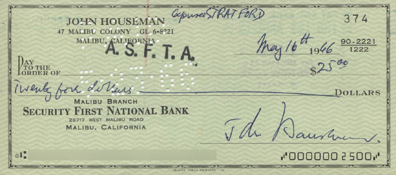 Image 1 for John Houseman - Autographed Signed Check 05/16/1966 - HFSID 321873