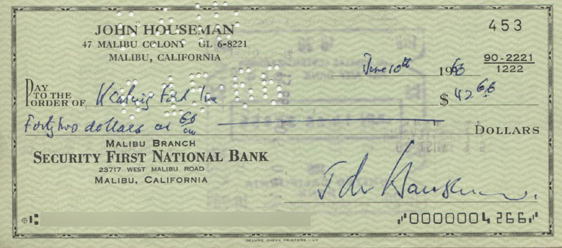 Image 1 for John Houseman - Autographed Signed Check 06/10/1966 - HFSID 321874