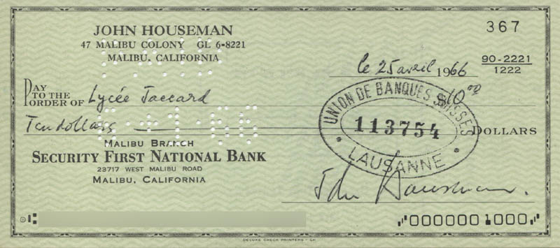 Image 1 for John Houseman - Autographed Signed Check 06/25/1966 - HFSID 321877
