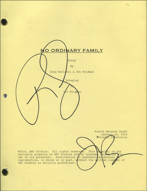 Image 1 for No Ordinary Family TV Cast - Script Signed co-signed by: Julie Benz, Romany Malco - HFSID 321918