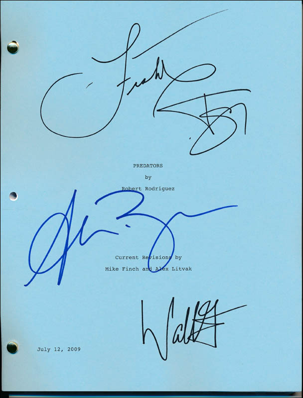 Image 1 for Predators Movie Cast - Script Signed co-signed by: Laurence Fishburne, Topher Grace, Walton Goggins, Alice Braga - HFSID 321923