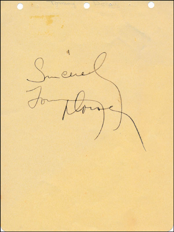 Image 1 for Tommy Dorsey - Autograph Sentiment Signed - HFSID 322023