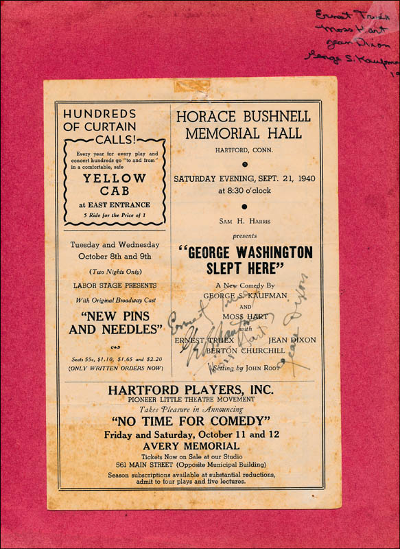 Image 1 for George Washington Slept Here Play Cast - Show Bill Signed Circa 1940 co-signed by: Moss Hart, George S. Kaufman, Ernest Truex, Jean Dixon - HFSID 322035