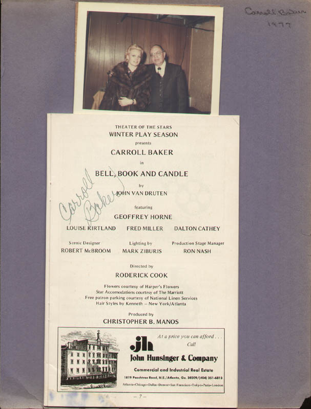 Image 1 for Carroll Baker - Show Bill Signed Circa 1977 - HFSID 322084