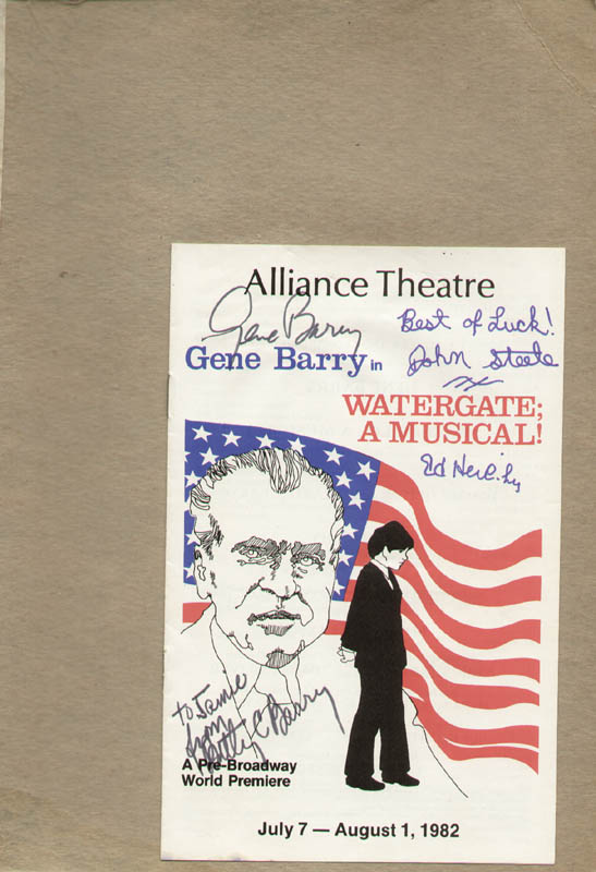 Image 1 for Watergate; A Musical! Play Cast - Inscribed Show Bill Signed co-signed by: Gene Barry, John Steele, Betty C. Barry, Ed Herlihy - HFSID 322087