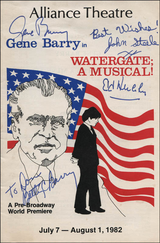 Image 1 for Watergate; A Musical! Play Cast - Autographed Inscribed Photograph co-signed by: Gene Barry, John Steele, Betty C. Barry, Ed Herlihy - HFSID 322088