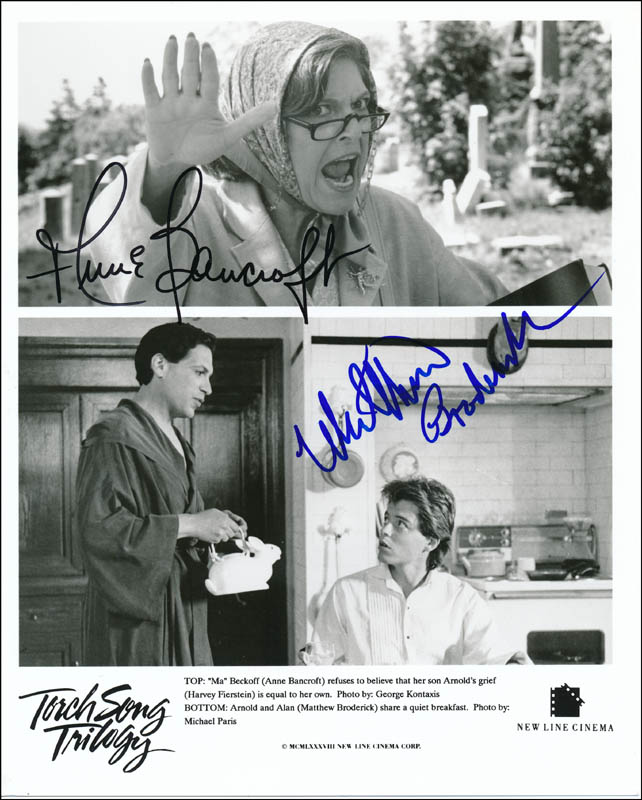 Image 1 for Torch Song Trilogy Movie Cast - Printed Photograph Signed In Ink co-signed by: Matthew Broderick, Anne Bancroft - HFSID 322098