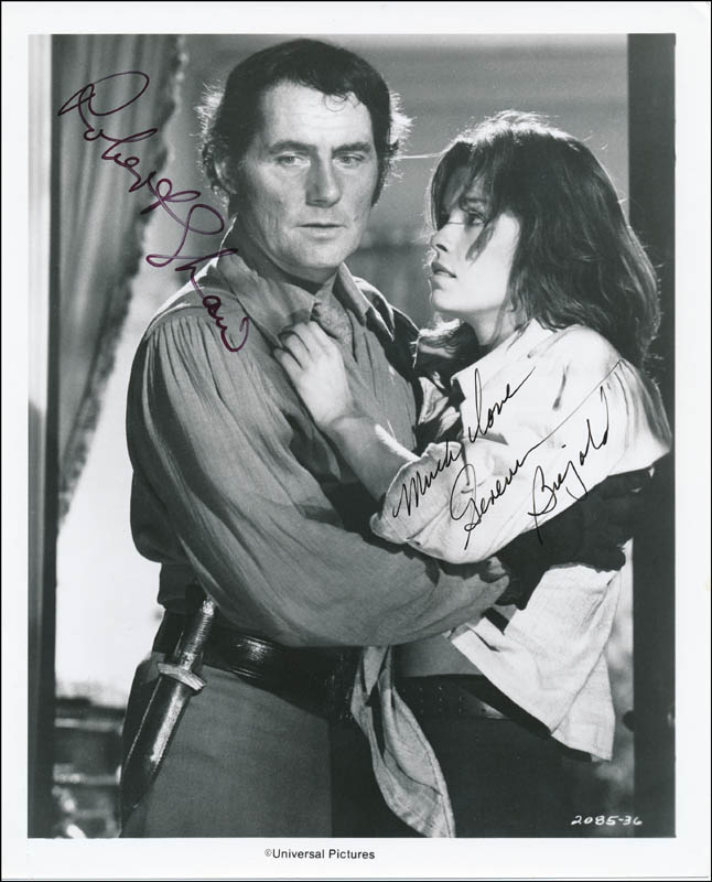 Image 1 for Swashbuckler Movie Cast - Printed Photograph Signed In Ink co-signed by: Genevieve Bujold, Robert Shaw - HFSID 322099