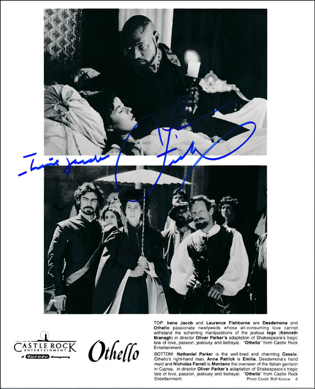 Image 1 for Othello Movie Cast - Printed Photograph Signed In Ink co-signed by: Laurence Fishburne, Irene Jacob - HFSID 322274