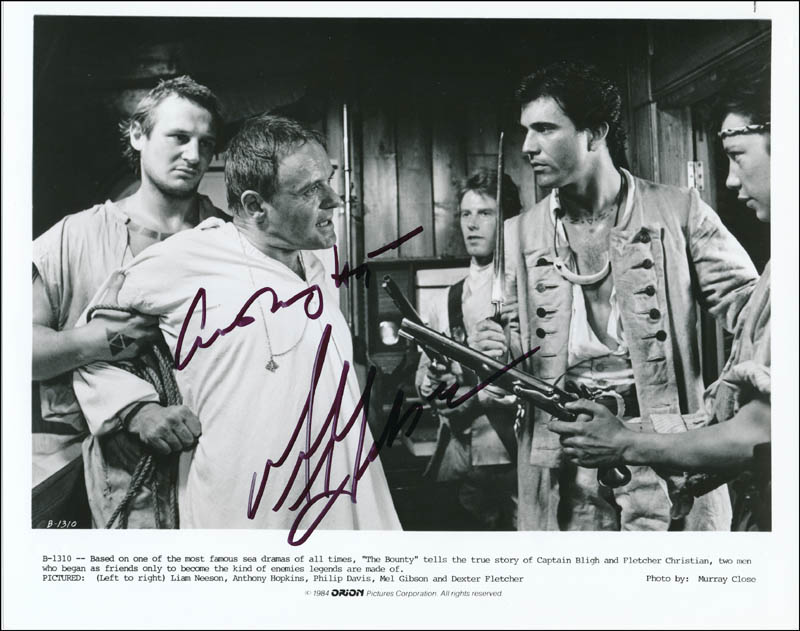 Image 1 for The Bounty Movie Cast - Autographed Signed Photograph co-signed by: Mel Gibson, Anthony Hopkins - HFSID 322278