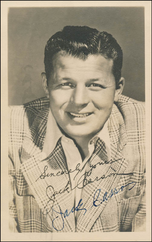 Image 1 for Jack Carson - Picture Post Card Signed Circa 1945 - HFSID 322283