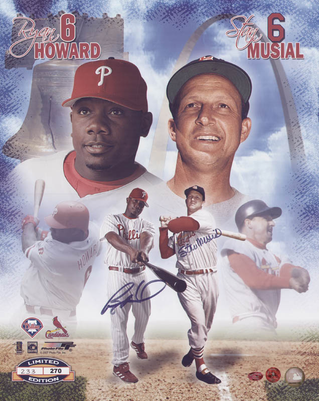 Image 1 for Stan 'The Man' Musial - Autographed Signed Poster co-signed by: Ryan Howard - HFSID 322290