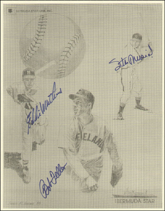 Image 1 for Stan 'The Man' Musial - Printed Art Signed In Ink Circa 1988 co-signed by: Bob Feller, Eddie Mathews - HFSID 322338