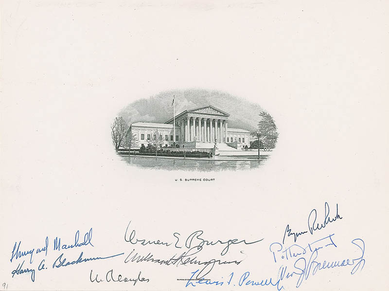 Image 1 for The Warren E. Burger Court - Engraving Signed with co-signers - HFSID 322355