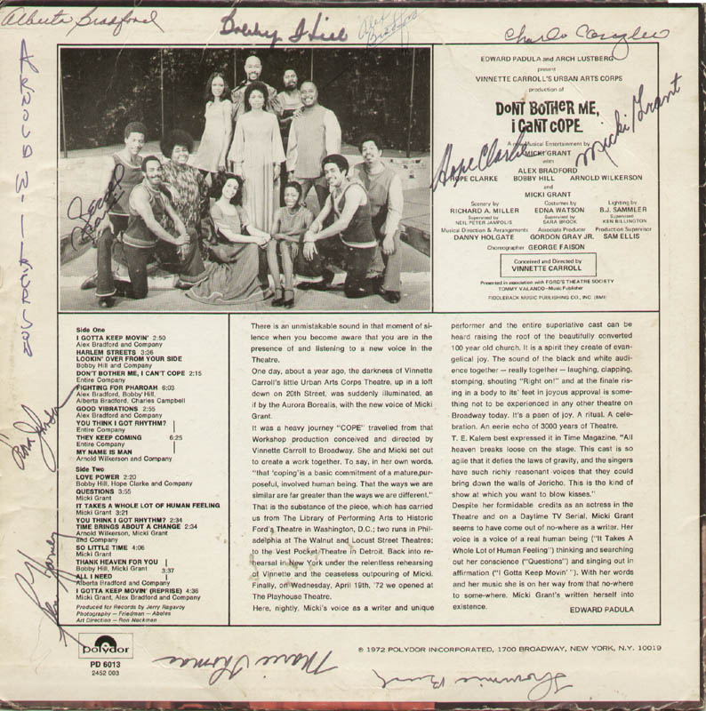 Image 1 for Don'T Bother Me, I Can'T Cope Play Cast - Record Album Cover Signed with co-signers - HFSID 322388