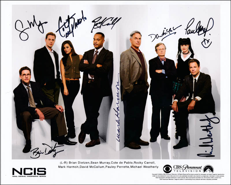 Image 1 for Ncis TV Cast - Printed Photograph Signed In Ink with co-signers - HFSID 322403