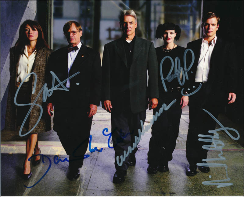 Image 1 for Ncis TV Cast - Autographed Signed Photograph co-signed by: David Mccallum, Mark Harmon, Pauley Perrette, Sasha Alexander, Michael Weatherly - HFSID 322424