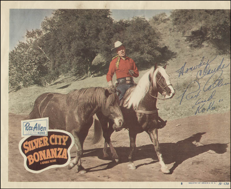 Image 1 for Rex Allen - Inscribed Lobby Card Signed - HFSID 322498