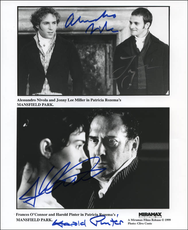 Image 1 for Mansfield Park Movie Cast - Autographed Signed Photograph co-signed by: Harold Pinter, Alessandro Nivola, Frances O'Connor, Jonny Lee Miller - HFSID 322541