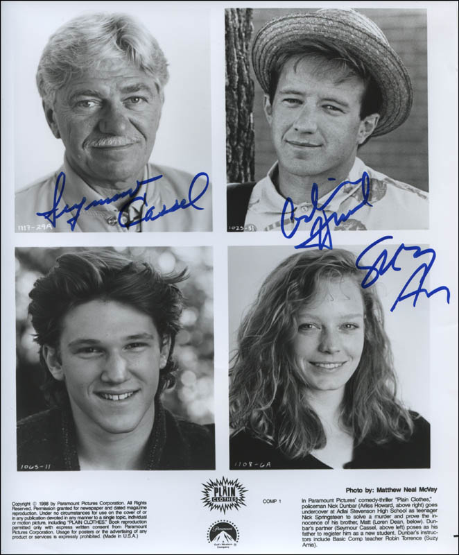 Image 1 for Plain Clothes Movie Cast - Autographed Signed Photograph co-signed by: Seymour Cassel, Suzy Amis, Arliss Howard - HFSID 322547