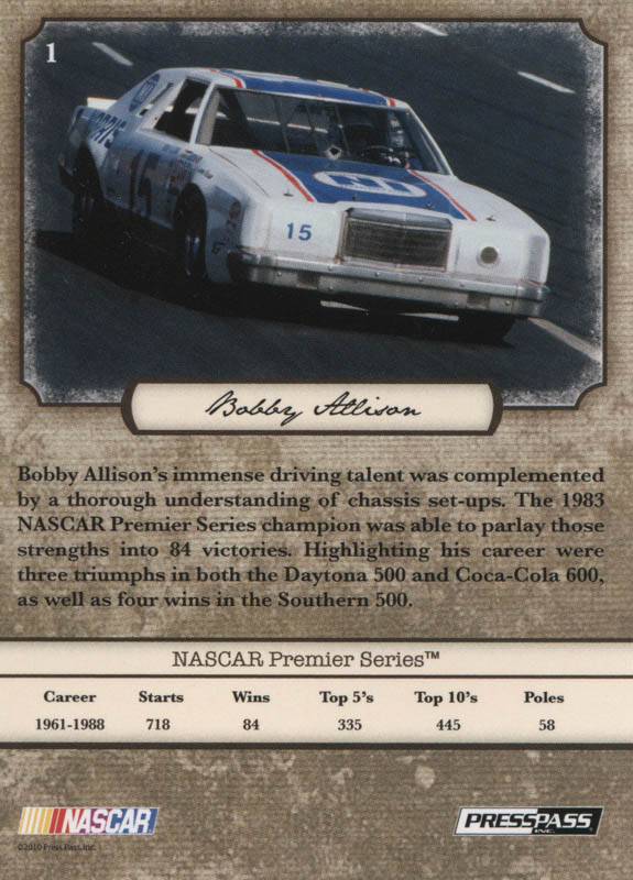 Image 3 for Bobby Allison - Trading/Sports Card Signed - HFSID 322567
