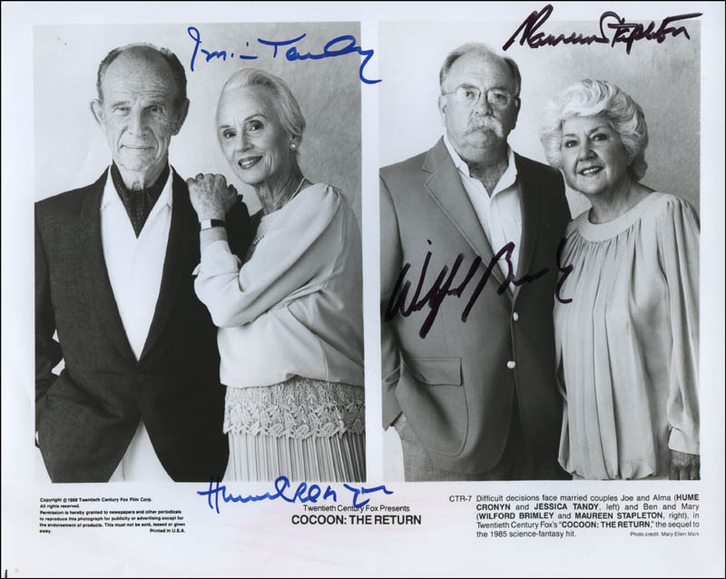 Image 1 for Cocoon: The Return Movie Cast - Autographed Signed Photograph co-signed by: Wilford Brimley, Hume Cronyn, Jessica Tandy, Maureen Stapleton - HFSID 322598