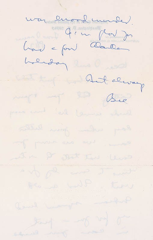 Image 3 for Associate Justice William O. Douglas - Autograph Letter Signed 08/17 - HFSID 322758