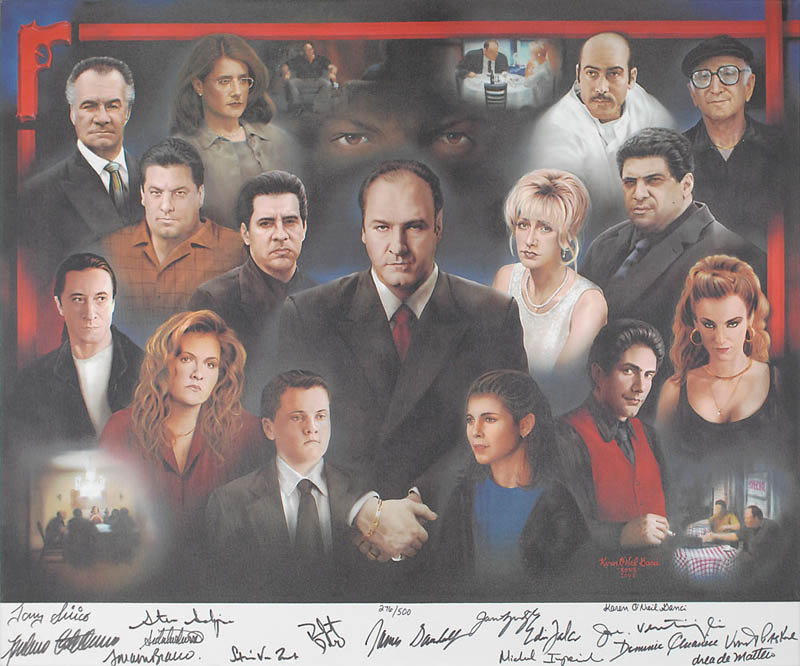 Image 1 for The Sopranos TV Cast - Printed Art Signed In Ink Circa 2001 with co-signers - HFSID 322861