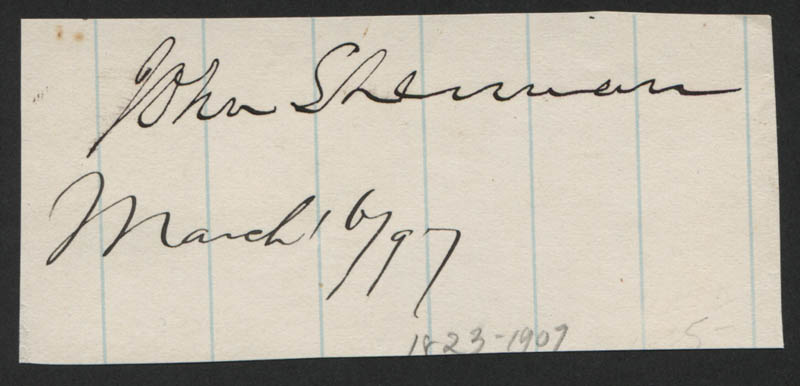 Image 1 for John Sherman - Autograph 03/16/1897 - HFSID 322873