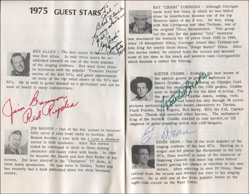 Image 3 for Jim 'Red Ryder' Bannon - Inscribed Program Signed with co-signers - HFSID 322931