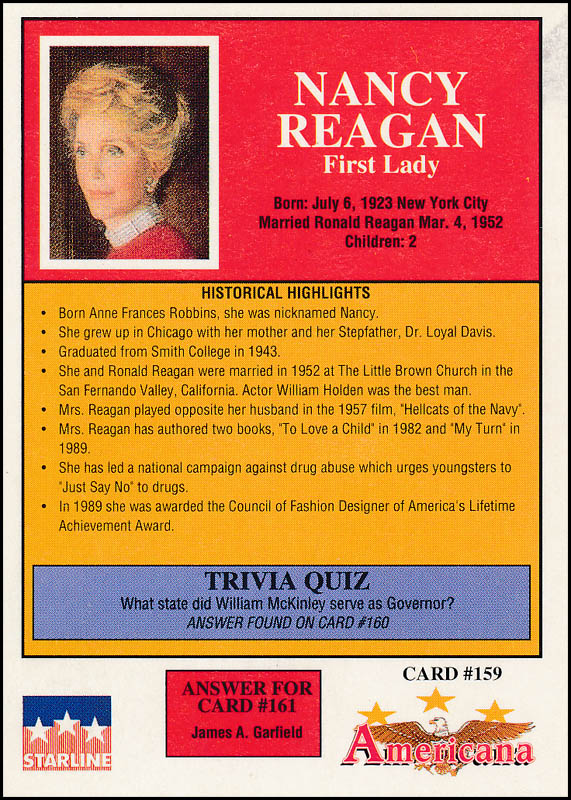 Image 3 for First Lady Nancy Davis Reagan - Trading/Sports Card Signed - HFSID 322952