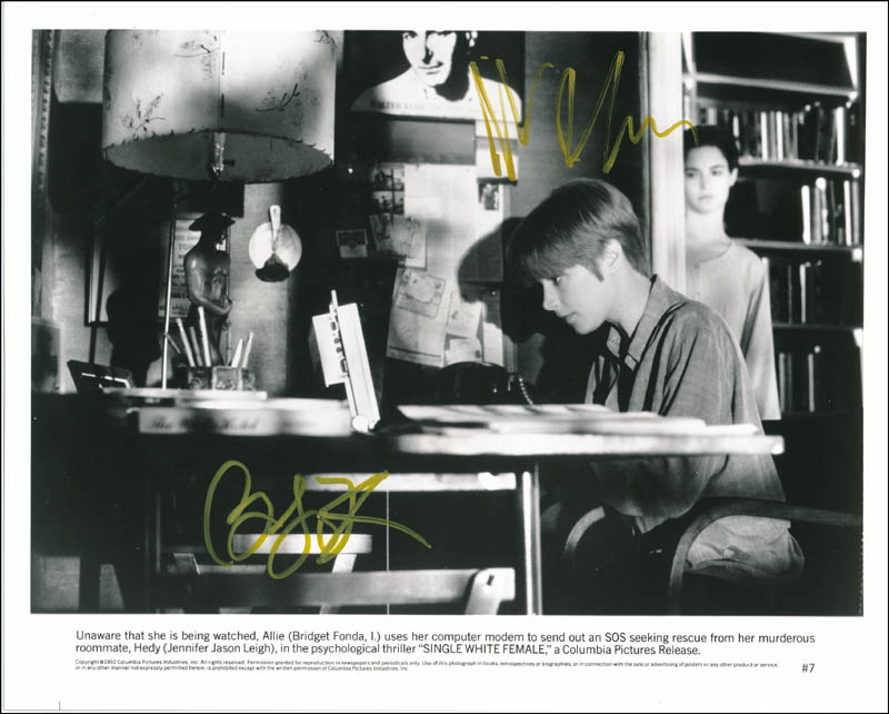 Image 1 for Single White Female Movie Cast - Printed Photograph Signed In Ink co-signed by: Jennifer Jason Leigh, Bridget Fonda - HFSID 323007