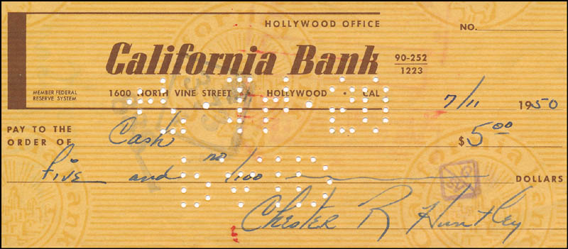 Image 1 for Chet Huntley - Autographed Signed Check 07/11/1950 - HFSID 323034