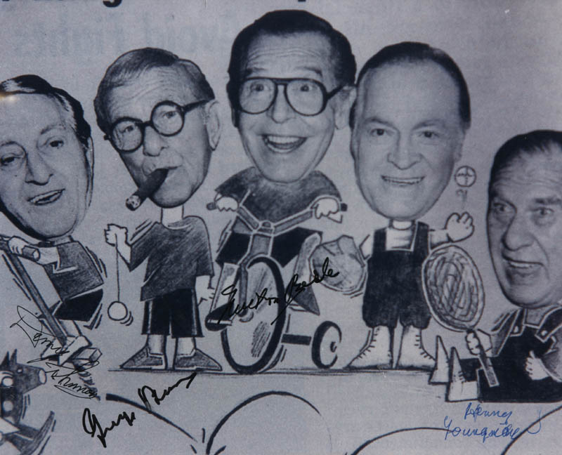 Image 1 for George Burns - Autographed Signed Photograph co-signed by: Henny Youngman, Milton Berle, Danny Thomas - HFSID 323069