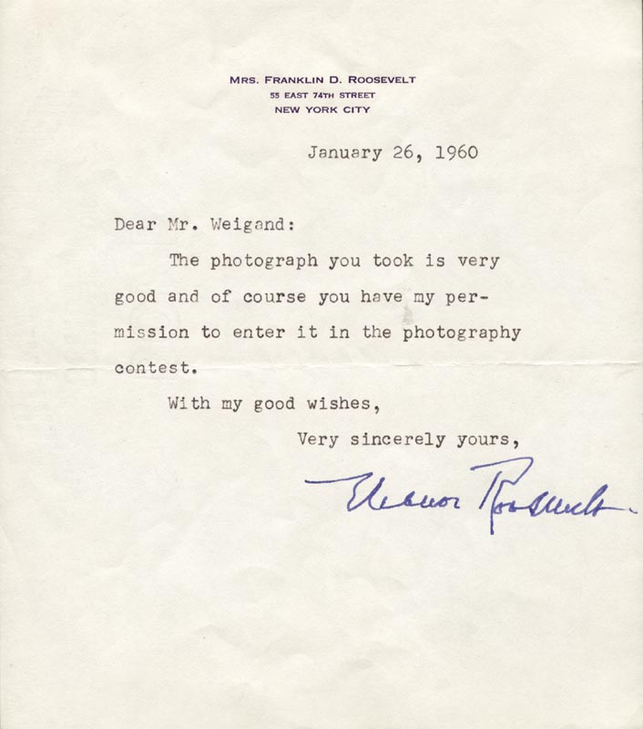Image 1 for First Lady Eleanor Roosevelt - Typed Letter Signed 01/26/1960 - HFSID 3231