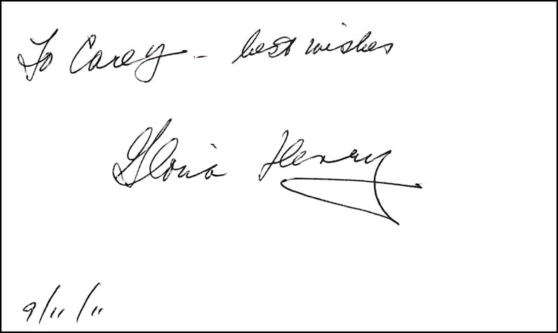 Image 1 for Gloria Henry - Autograph Note Signed 09/11/2011 - HFSID 323194