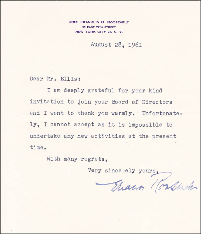 Image 1 for First Lady Eleanor Roosevelt - Typed Letter Signed 08/28/1961 - HFSID 32323