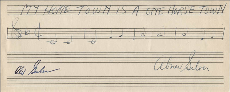 Image 1 for Abner Silver - Autograph Musical Quotation Signed co-signed by: Alex Gerber - HFSID 323323
