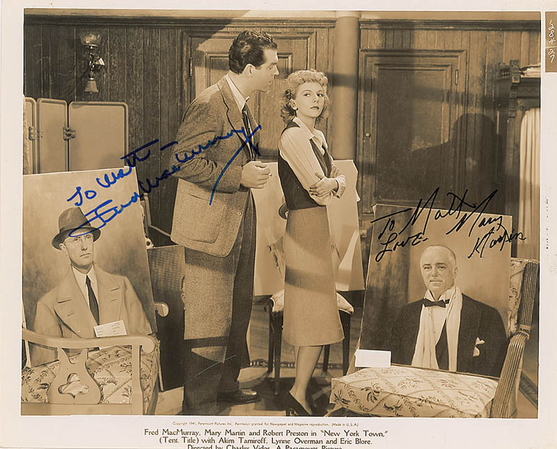 Image 1 for New York Town Movie Cast - Printed Photograph Signed In Ink co-signed by: Mary Martin, Fred Macmurray - HFSID 323395