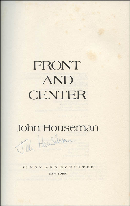 Image 1 for John Houseman - Book Signed - HFSID 323514
