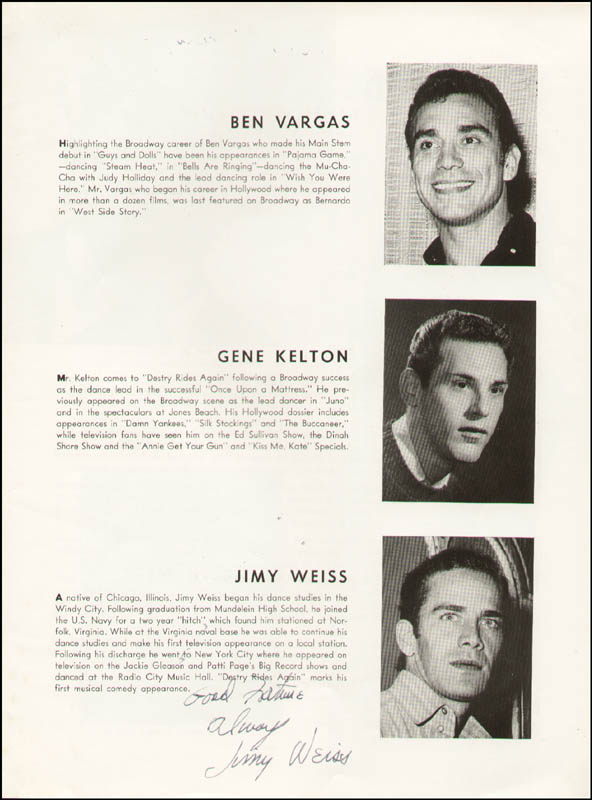 Image 7 for Destry Rides Again Play Cast - Show Bill Signed with co-signers - HFSID 323795