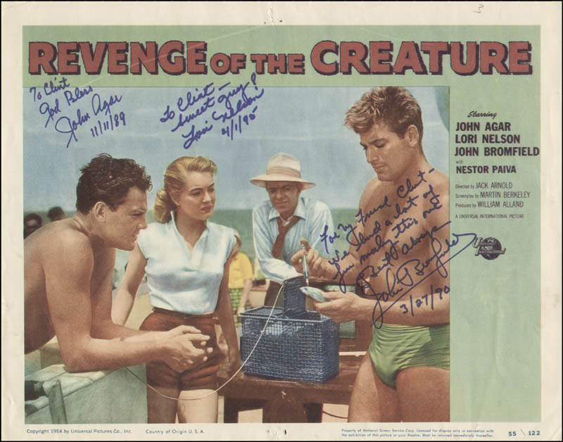 Image 1 for Revenge Of The Creature Movie Cast - Inscribed Lobby Card Signed 11/11/1989 co-signed by: John Bromfield, John Agar, Lori Nelson - HFSID 323996